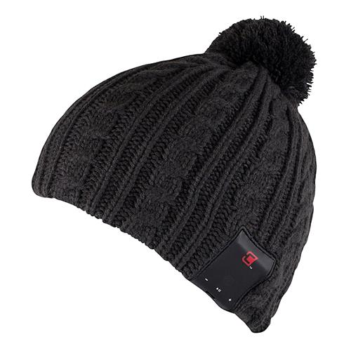 Caseco Dual Layered Men's Pom Bluetooth Toque - Dark Gray Cable Knit No Cuff