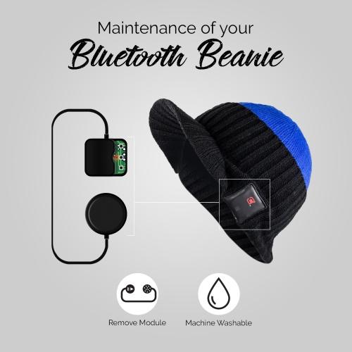e10e609e329 Dual Layered Bluetooth 4.0 Wireless Winter Beanie Unisex Hat with Headphone  & Mic - Cobalt