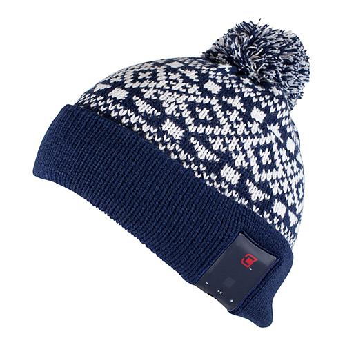 Caseco Women's Pom Bluetooth Toque - Navy with Snow Pattern