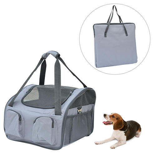 PawHut 3in1 Pet Car Booster Seat Dog Carrier Travel Bag Gray