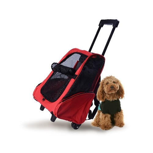 PawHut Pet Carrier Luggage BoxCat Dog Backpack Crate Rolling Wheel with Removable Support Red