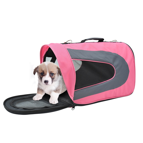 PawHut Soft Sided Pet Airline Carrier Foldable Dog Cat Bag Mesh Crate Travel Tote Transport Pink