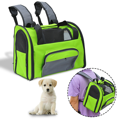 PawHut Pet Carrier Backpack Bag Dog Cat Puppy Net Travel Portable Green & Grey