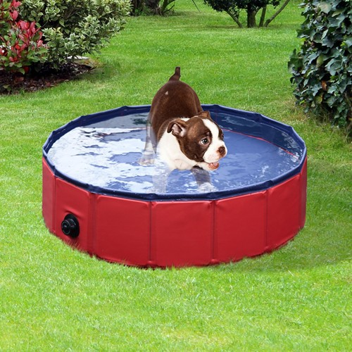 PawHut Folding Splash About Dog Pool Pet Swimming Pool Indoor Outdoor Use Dia. 31.5inch