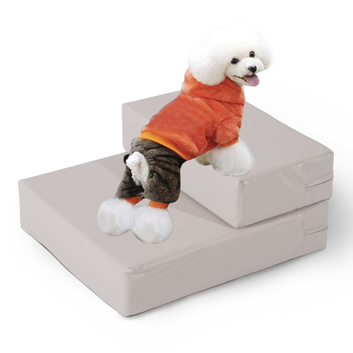 PawHut 2 Steps Folding Pet Stairs FauxLeather Cat Dog Mat Bed