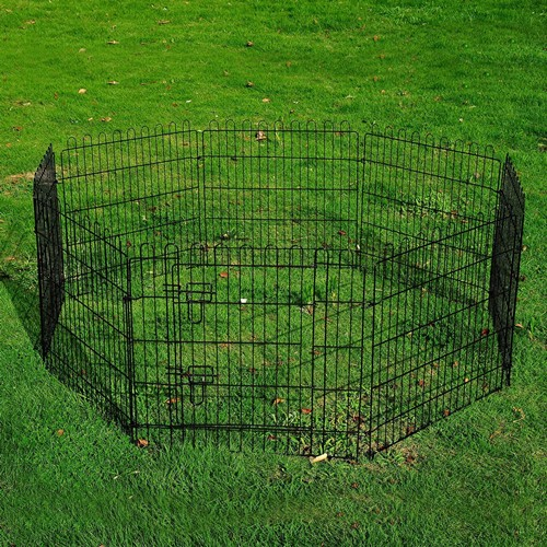 PawHut 24-inch 8-Panel Octagon Pet Exercise Playpen Crate Dog Cage Pen