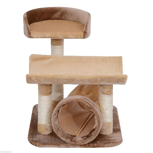 PawHut 29 -Inch Scratching Cat Tree Post Pet Furniture with Tunnel Brown