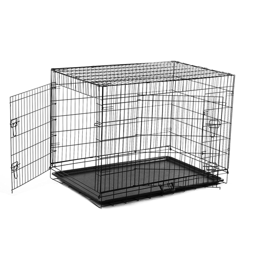 PawHut 36-inch Two Door Folding Metal Dog Crate Cage Kennel with Divider