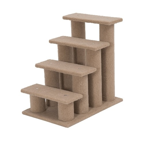 PawHut 4 Tier Pet Stairs Dog Cat Step Scratch Post Furniture Light Brown