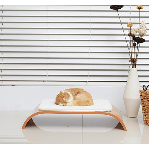 """PawHut 4.7"""" Curved Cat Sleeping Breathing Bed Perch MDF Pet Play Cozy Cushion"""