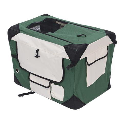Pawhut 40.2Inch Folding Dog Soft Crate Cage Pet Puppy Cat Carrier Kennel Portable Fabric Travel House (Green & Cream White)