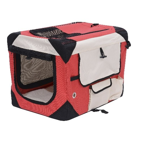 Pawhut 40.2Inch Folding Dog Soft Crate Cage Pet Puppy Cat Carrier Kennel Portable Fabric Travel House