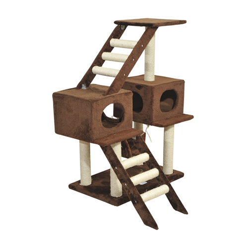 PawHut 42.8Inch Scratching Cat Tree Climber Tower Condo with Hammock Post Brown
