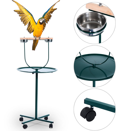 PawHut 48inch Portable Metal Bird Playstand Parrot Perch Feeder with 2 Bowls Green
