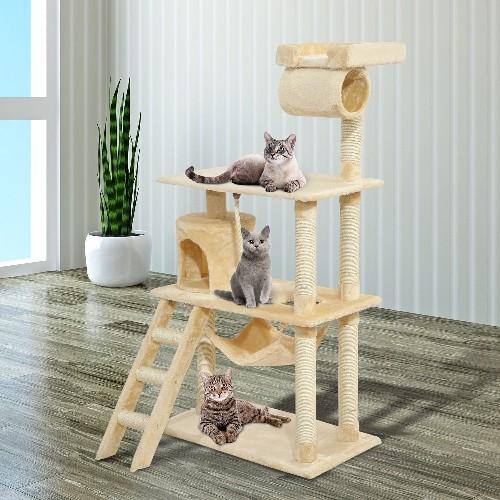 Pawhut 55Inch Cat Climbing Tree Condo Kitten Scratching Post Sisal Activity Center Beige