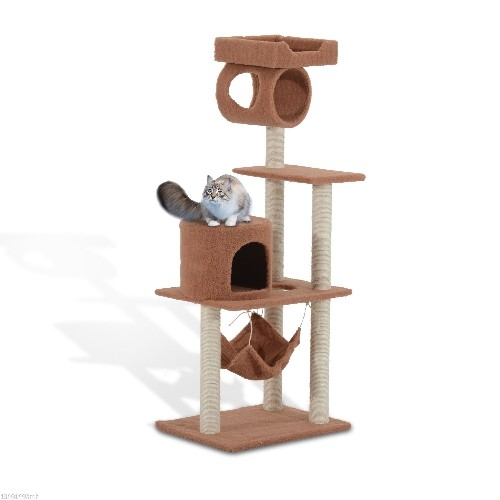 PawHut 55-Inch Cat Tree Pet Scratching Post Furniture Coffee