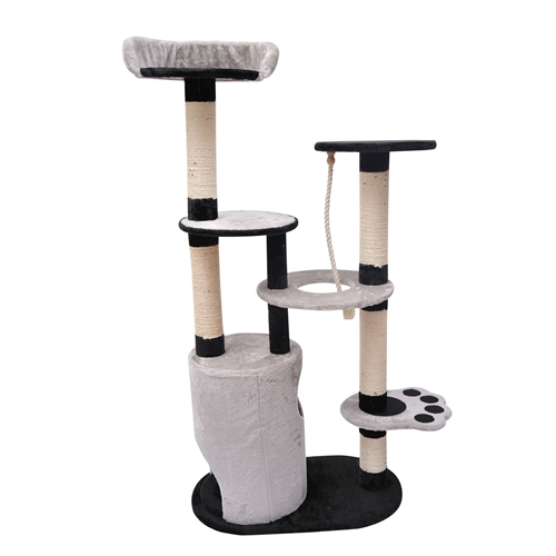 Pawhut 55-inch Cat Tree Scratching Furniture with Condo Post Black/Gray