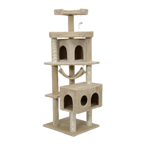Pawhut 65.2 Inch Cat Tree Scratching Post Pet Furniture with Condo Hammock Toy Beige
