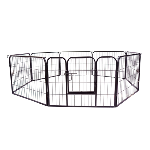 PawHut 8 Panel Pet Playpen Heavy-Duty Iron Indoor/Outdoor 32-inch