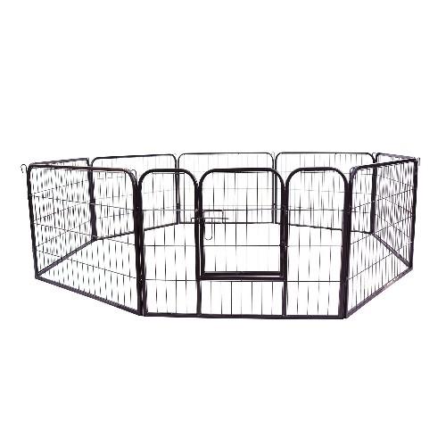 PawHut 8 Panel Pet Playpen Heavy-Duty Iron Indoor/Outdoor 40-inch Black