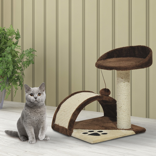 PawHut Cat Tree Pet Bed Post Scratcher Kitty Scratching Toys Furniture House Brown