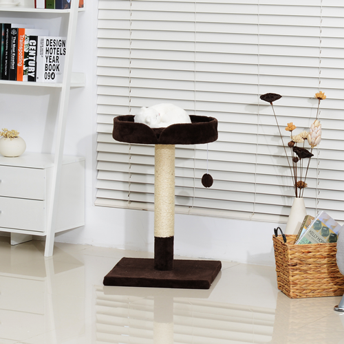 """PawHut Elegant 28"""" Cat Padded Bed Scratching Post Pet Play Tower Brown and white"""