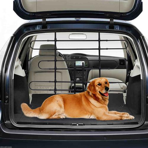 PawHut Expandable Metal Dog Partition Pet Car Barrier Black