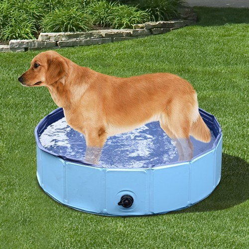 PawHut Folding Splash About Dog Pool Portable Pet Swimming Pool Indoor Outdoor Use Blue 47.2inch