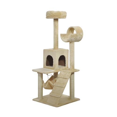 Pawhut Luxury 52Inch Cat Scratching Tree Condo Pet Bed Furniture Kitten Scratch Activity Center