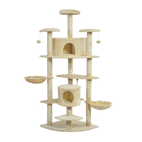 Pawhut Luxury 79Inch Scratching Cat Tree Condo Kitten Scratch Activity Center with Toys Beige