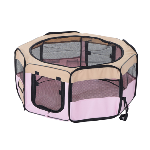 PawHut 37.4inch Playpen Pet Play Pen Puppy Cat Fence Kennel Dog Crate Foldable Design Pink & Beige