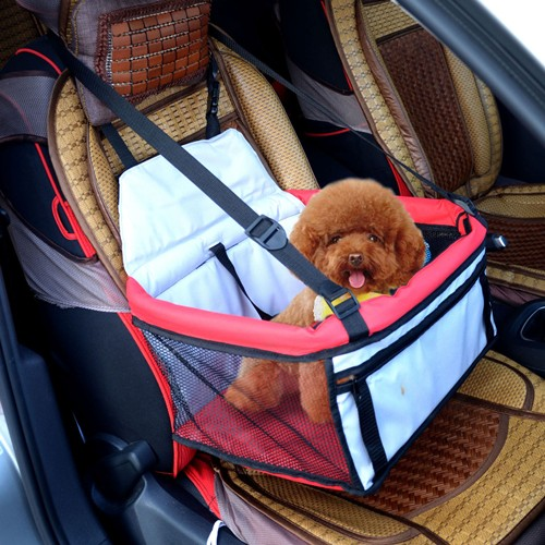 PawHut Pet Car Seat Cover Booster Basket Dog Puppy Cat Bag Carrier Travel Bed Foldable Red & Grey