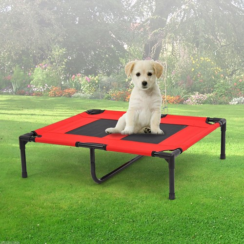 PawHut Metal Frame Elevated Pet Bed Cot Dog Cat Camping Sleeper Puppy Cooling Cozy