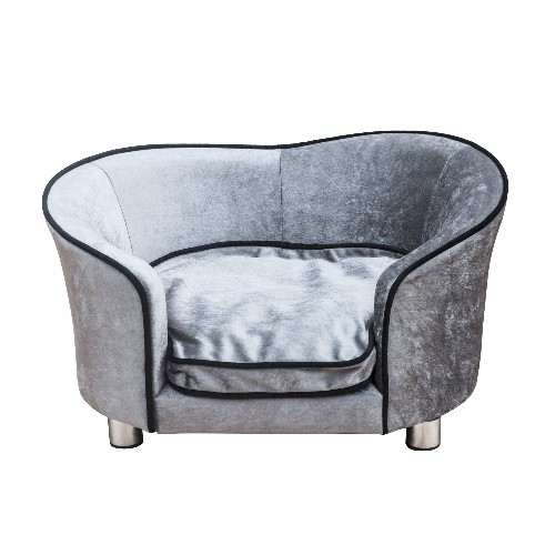PawHut Pet Sofa Bed Dog Cat Cozy Puppy House Couch Furniture with Removable Cushion Light Grey