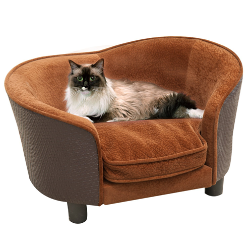 PawHut Rattan Style Pet Dog Cat Sofa Pet Bed Warm Dog Bed Chair with Removable Cushion