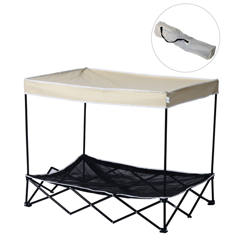 PawHut Outdoor Pet Cot Bed Dog Canopy Puppy Shelter Covered Bag Foldable Portable Tent