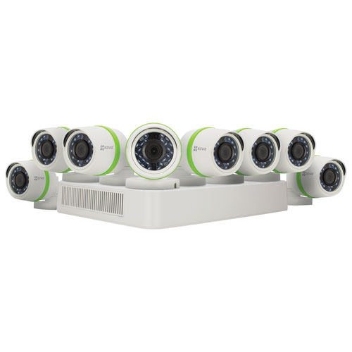 Système de sécurité avec fil EVN 2 To 16 canaux et 8 caméras 1080p compactes d'EZVIZ - Blanc