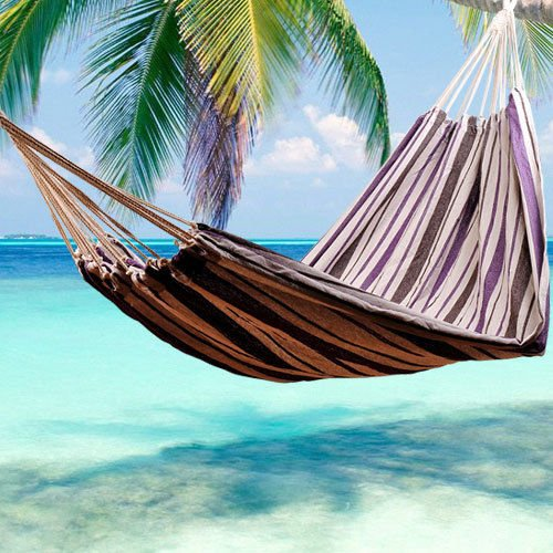 Outsunny 83x59inch Double Hammock Bed Sun Bed Lounge Garden Camping Hiking Furniture