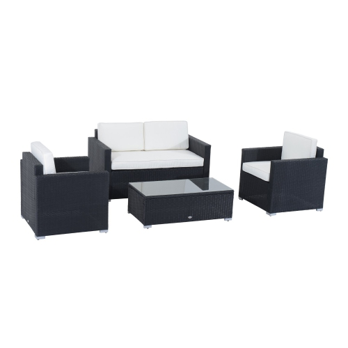Outsunny 4pcs Rattan Furniture Set With Cushion Black