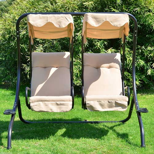 Outstanding Outsunny Luxury Metal Swing Chair 2 Separated Seater Hammock Heavy Duty Lamtechconsult Wood Chair Design Ideas Lamtechconsultcom