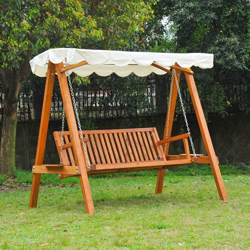 Outsunny Heavy-Duty 3 Seater Hardwood Swing Chair Hammock with Canopy Garden Furniture