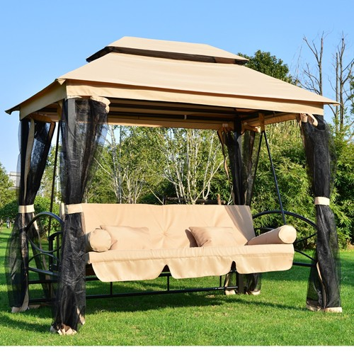 outsunny outdoor 3 person patio daybed canopy gazebo swing chair hammock with mesh mosquito net