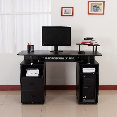 HOMCOM Computer Desk Writing Table Drawer PC Cabinet Home Office ...