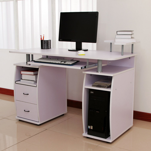 black computer ieeepucp office gloss org homcom desk high pc white
