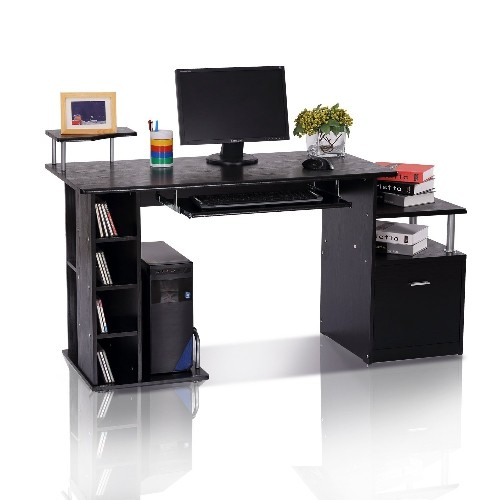 HOMCOM Wood Computer Desk With Drawer Shelves Black