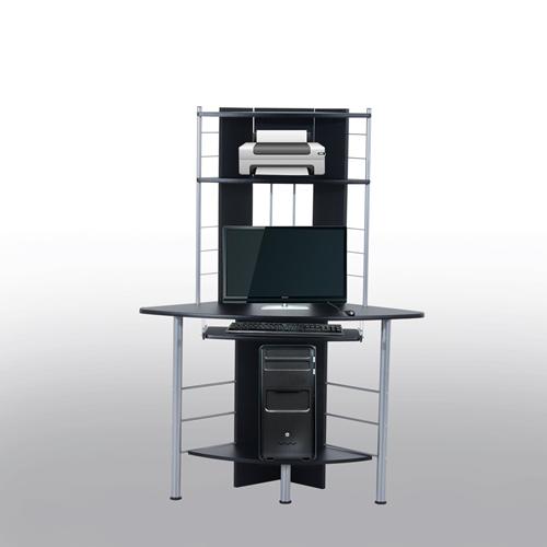 HOMCOM Corner Computer Desk Table With Keyboard Tray CPU Stand Printer  Platform Black   Online Only