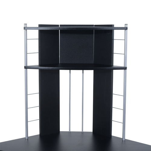 HOMCOM Corner Computer Desk Table With Keyboard Tray CPU Stand Printer  Platform Black