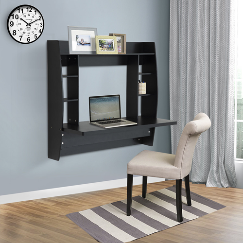 office bedroom furniture. homcom wall mounted floating desk computer table with storage home office bedroom furniture black