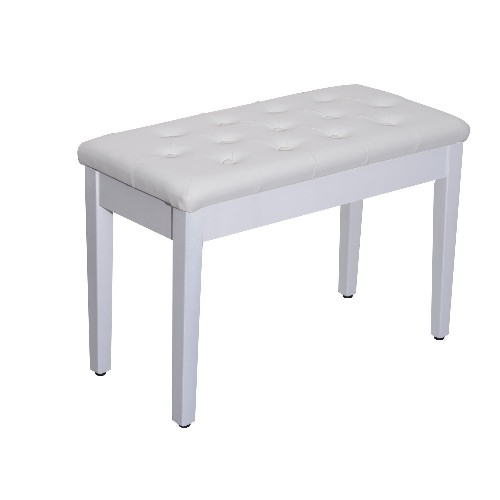 HOMCOM Double Padded Piano Bench Wood Duet Keyboard Seat PU Leather Furniture Storage White