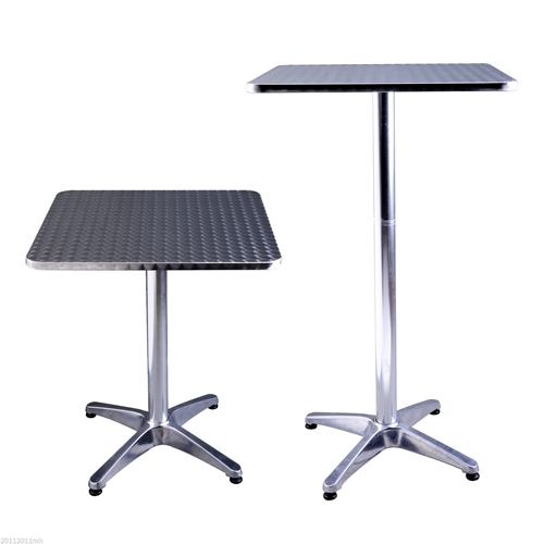 HOMCOM Square Bar Table Aluminum Silver